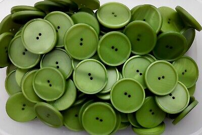 Large 34mm 54L Apple Green Bright Green Satin Clown 2 Hole Coat Buttons (Q532)