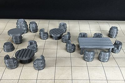 Tavern Table & Chair 28mmSet 23 Pieces 3D Printed Barrels D&D Dungeons Dragons
