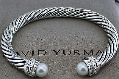 DAVID YURMAN 7MM PEARL SILVER CROSSOVER BRACELET