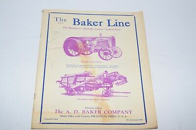 1920s The Baker Line Tractorthreshing Machinery Catalog - Reprint