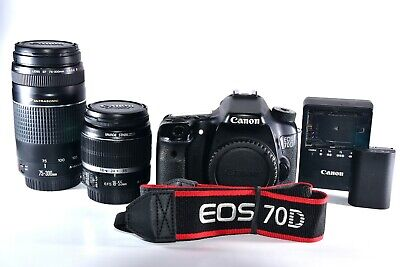 Canon EOS 70D 20.2MP Digital SLR Camera Kit w/ EF-S IS 18-55mm & 75-300mm Lens