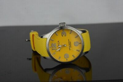 NAUTICA MENS A11589G WATCH A09559G STAINLESS STEEL YELLOW STRAP