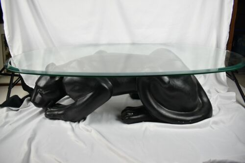 "Black panther ceramic base beveled glass top oval coffee table 49"" x 28"""