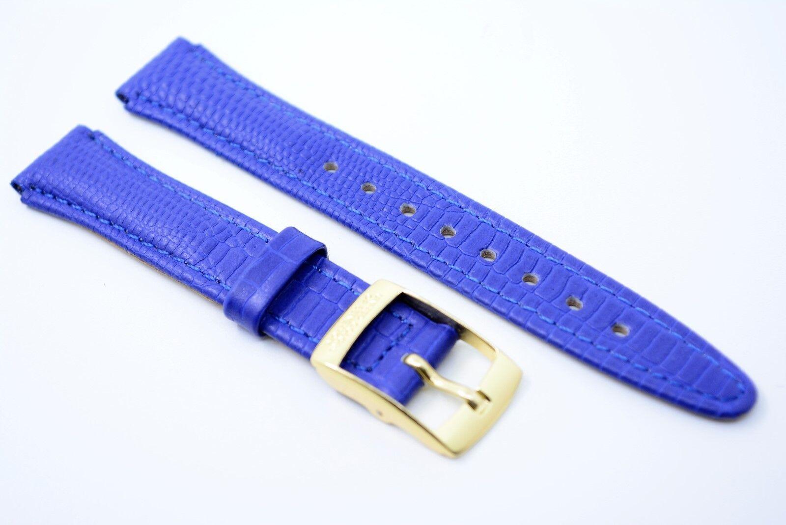 Uhrenarmband Echtleder 14 mm Band UNITED COLORS OF BENETTON Blau Kroko gold