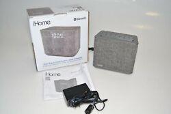 iHome Bluetooth Dual Alarm FM Clock Radio USB Charge Grey Speakers and Alarm