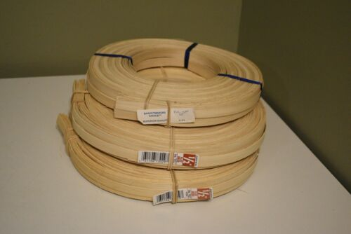 """Lot of 3 Coils of 1 lbs. 1/2"""" Natural Flat Reed - Chair Caning, Basket Weaving"""