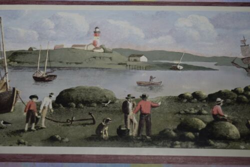 Wallpaper Border Dado first settlers explorers Fishing Lighthouse Nautical Red