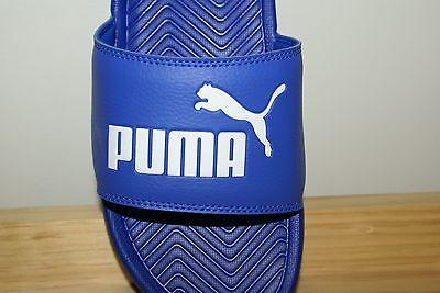 Mens Puma Sandal Blue White Flip Flop Slides Shower Shoes NEW Pop Cat ()