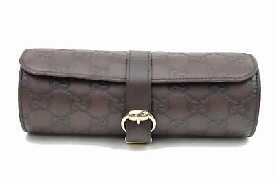 Authentic Gucci Watch Case Guccissima Brown Leather 76310