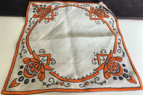 Antique Arts & Crafts Hand Embrdoidered Linen Square Runners  VV781