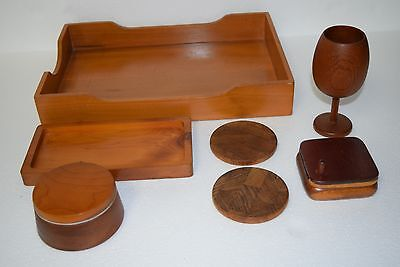 Vintage Wood Desk Organizer - File Box Tray Round Holder Coasters Goblet