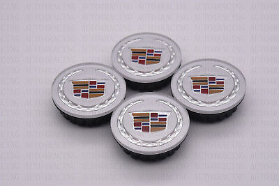 4xSilver Wheel Center Hub Caps 66mm Emblem Badge Cover for Cadillac Cadi CTS SRX