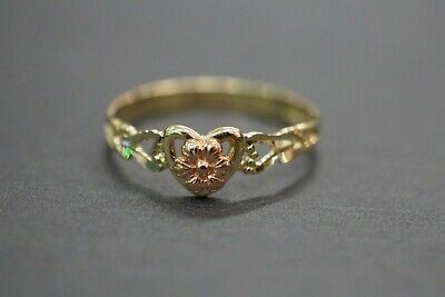 - 10K Solid Yellow Gold Two Tone Heart With Rose Baby Children Kid Ring. Size 3.5