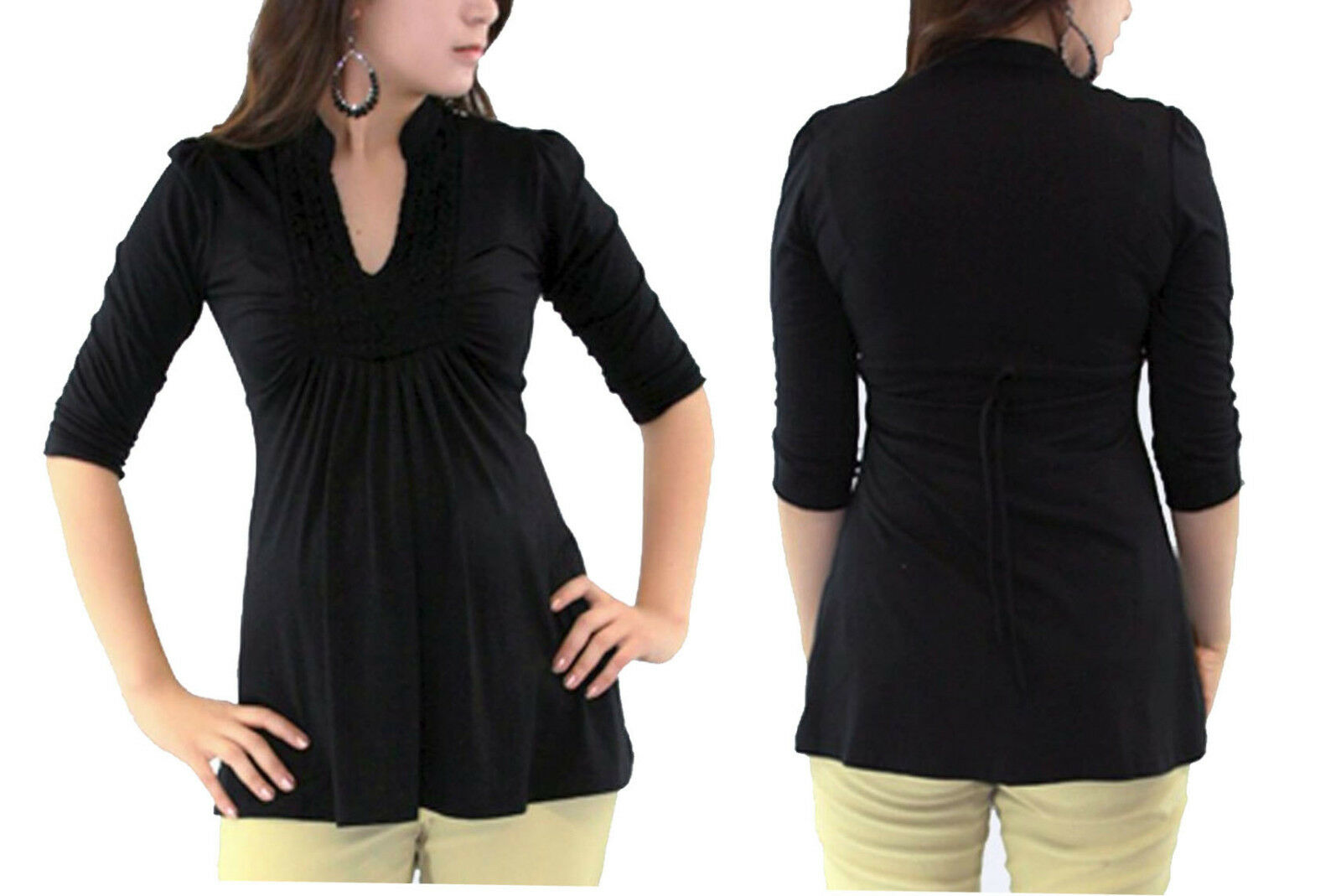 Black Maternity Long Sleeve Blouse Solid Pregnancy Blouse Pr