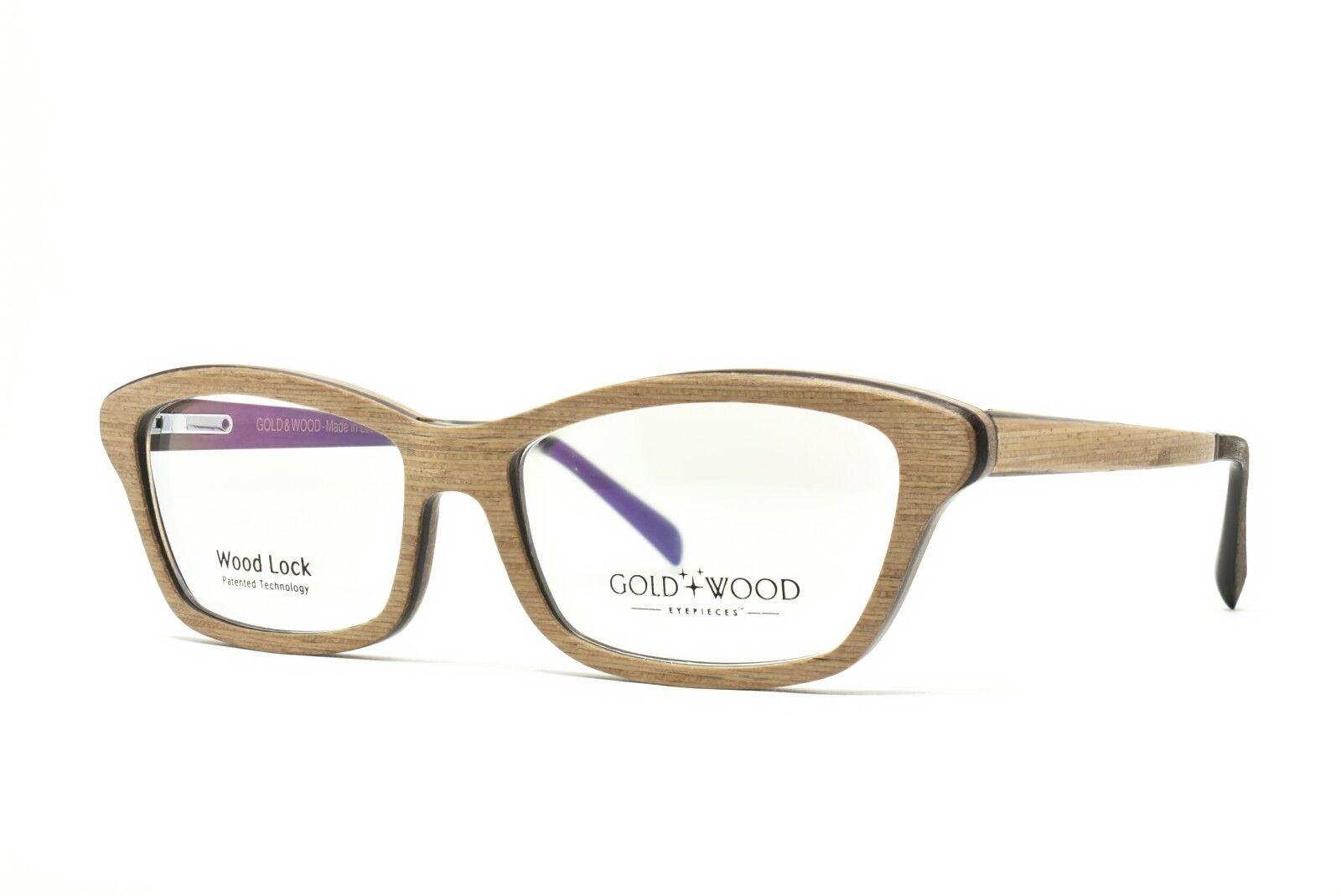 Gold und Holz Ecla 03 Brille 53-15-140 Brandneu Echt - Einzelhandel