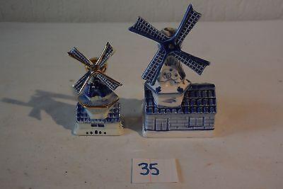 C35 Belle décoration d'un mini moulin en delft