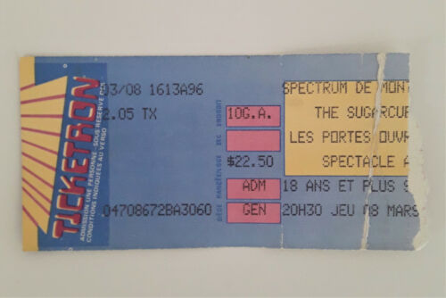 THE SUGARCUBES 1990 Concert Ticket Stub Montreal Bjork Iceland Life