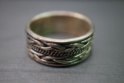 Vintage 9MM Sterling Silver Weave Rope Edge Eternity Band Ring!! Sz-10 (#2505)