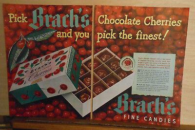 1948 two page magazine ad for Brach's Chocolate Cherries - Cherries Galore!