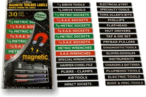 Magnetic Tool Chest Drawer Labels for Craftsman & Mechanics Organize your Tools