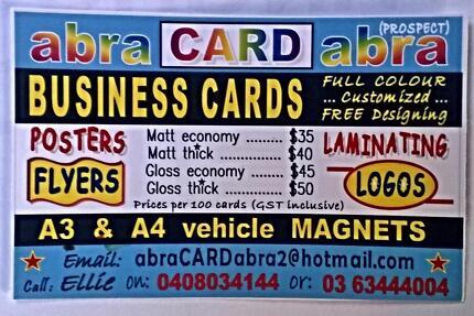 Business Cards ... custom full colour designing