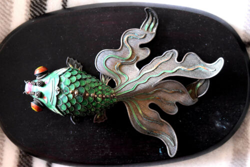 Exquisite Vintage Chinese Large Sterling Silver Enamel Filigree Fish