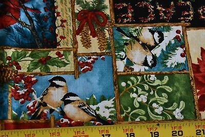 "32"" Long, Winter Bird Collage on Blue Quilt Cotton, Wilmington/Phillips, N3733"