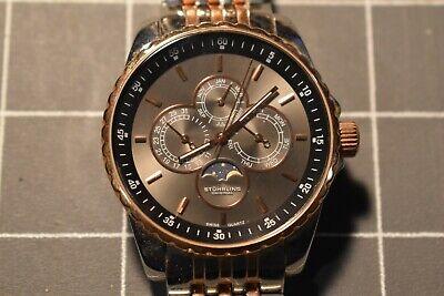 Stuhrling Original Chronograph Watch stainless steel 2 tone Moon Phase Chronograph Moon Phase Watch