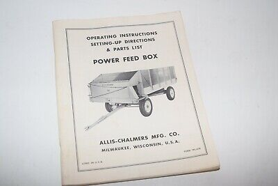 Vintage Allis-chalmers Power Feed Box Operating Instructions Parts List