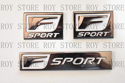 (3) Lexus Chrome F-Sport Logo ABS Badge Trunk FENDER Marker 3D Emblem Decoration