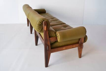 3.5-seater ROSEWOOD sofa lounge. LEATHER. Danish,Parker,Eames era