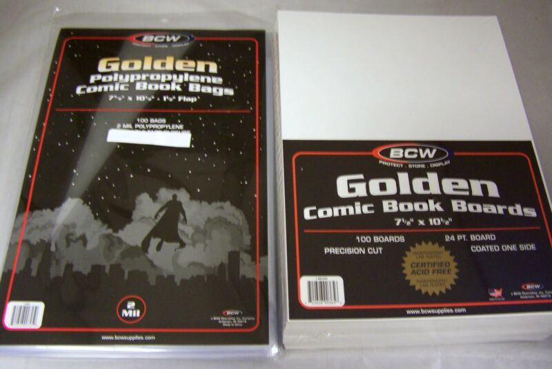 100 BCW Golden Age Comic Book Archival 2-mil Poly Bags + Acid Free Backer Boards