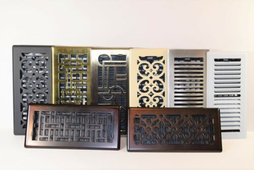 """Decor-Grates-Floor-Register-Steel-Metal-Air-Vent-Scroll-Size-Inch 2""""x12, 4x10in."""