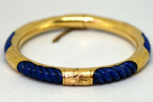 Chinese 14K Solid Gold and Hand Carved Natural Lapis Lazuli Bangle Bracelet