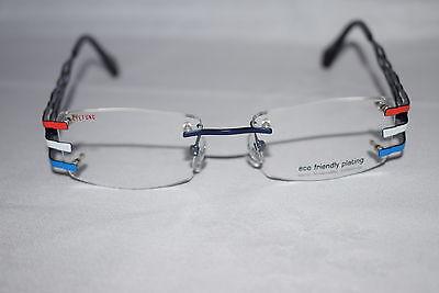 EYEFUNC 112 90 ROT WEISS BLAU 49 18 140 BRILLE BRILLENGESTELL FASSUNG GLASSES