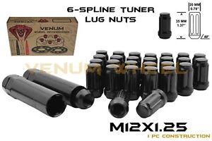 20 Black Spline Tuner Lug Nuts 12x1.25 Fits Subaru STI BRZ Nissan 350z 370z