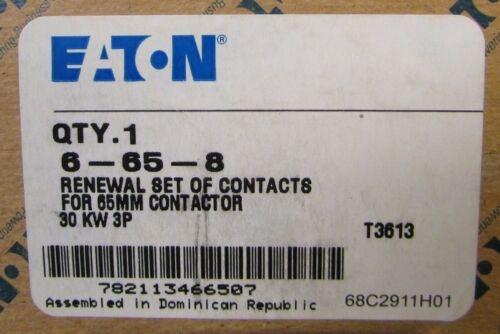 EATON CUTLER HAMMER 6-65-8 3 Pole 65 MM 30KW Contactor Contact Kit 6-65-8
