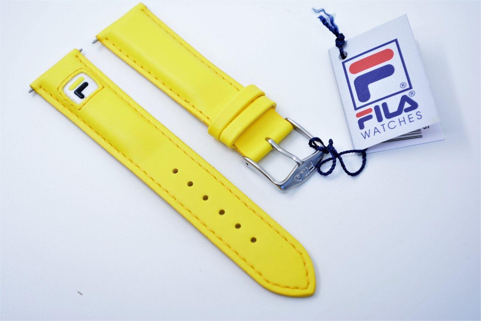 Original FILA POLARIS ALU Uhrenarmband Leder-textil Wasserdicht 20 mm Gelb