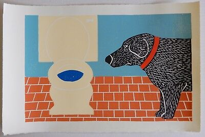 "STEPHEN HUNECK - WOODCUT PRINT - ""WATER BOWL, BAD DOG"" TOILET - FOLK - ART"