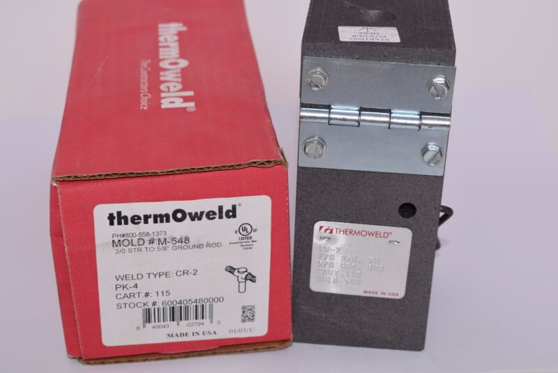 NEW BURNDY M548 2/0AWG GROUNDING MOLD, thermOweld CR-2 Ground Rod