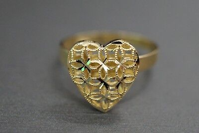 10K Solid Yellow Gold Diamond Cut Filigree Dome Heart Ring. Size 9.25