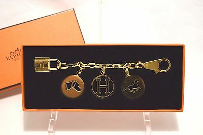 Hermes GOLD Breloque Olga Bag Charm Amulette with Box Horse Cadena Authentic