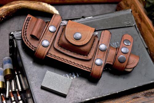 CFK Handmade Quality Leather Horizontal 6-INCH Fixed Blade Knife Brown Sheath