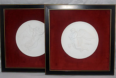 PAIR OF FRAMED ROYAL COPENHAGEN BISQUE PORCELAIN PLAQUES NIGHT AND DAY ANGEL