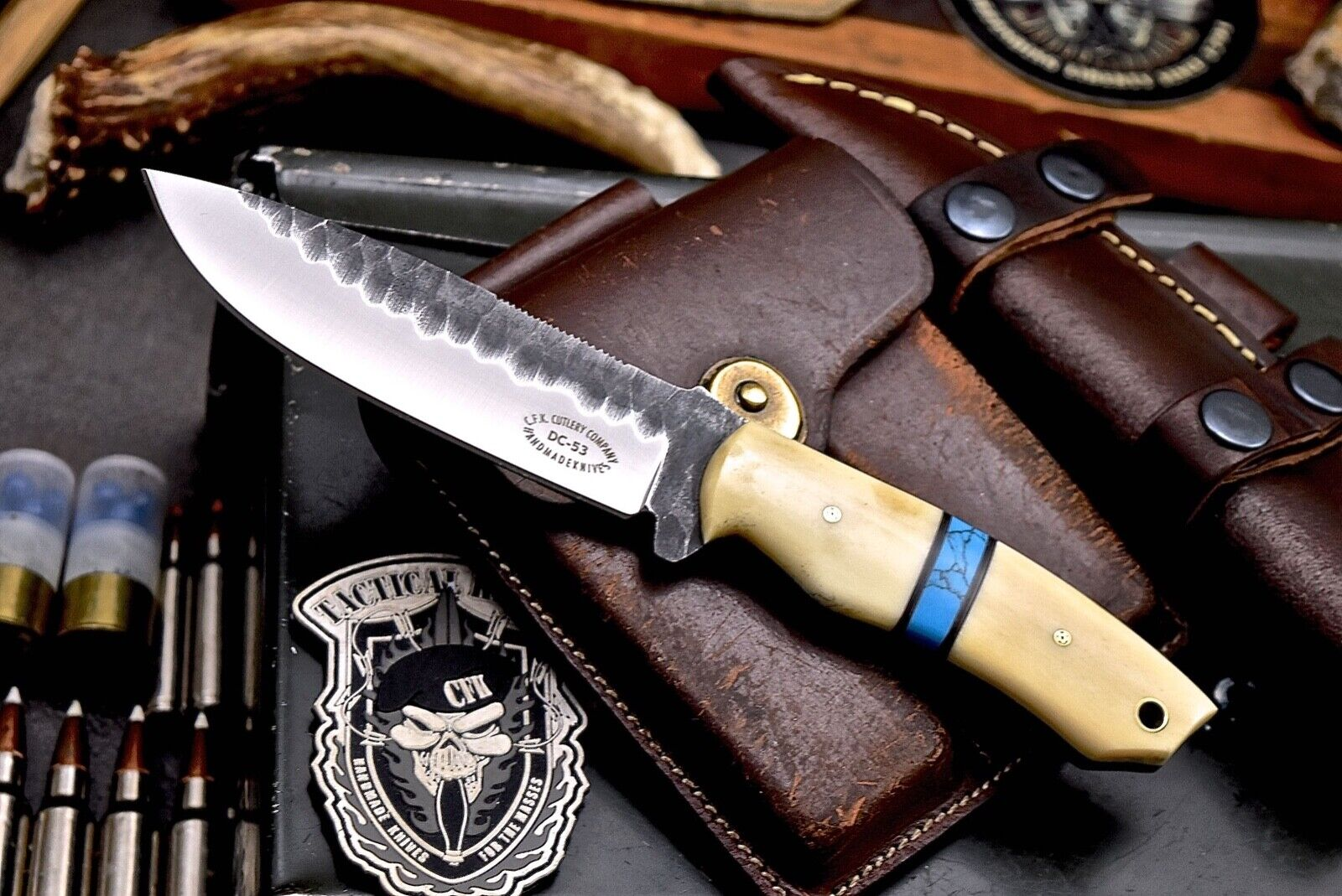 CFK-Handmade Hammered DC53 Tool Steel Custom Camel Bone Turquoise Skinner Knife - $0.99