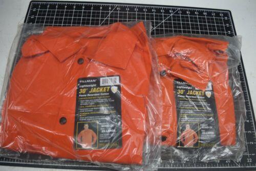 "Lot of 2 Tillman 30"" Orange Welding Fire Retardant Jacket Size 2X 9oz cotton"