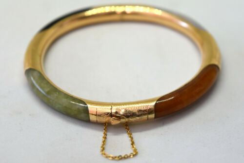 Vintage Chinese 14K Solid Gold and Natural Jade Bangle/Bracelet