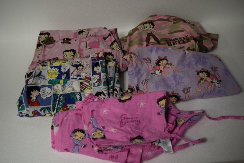 Lot of 5 Betty Boop Nurses Medical Uniform Scrubs - 4 Tops & 1 Bottom