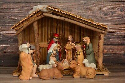 Vintage Sears Porcelain Nativity Set Stable 11 Figures