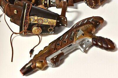 """STEAMPUNK Costume Prop BELT Holster Blaster Gun Pouches Cosplay 34-40"""" N20"""